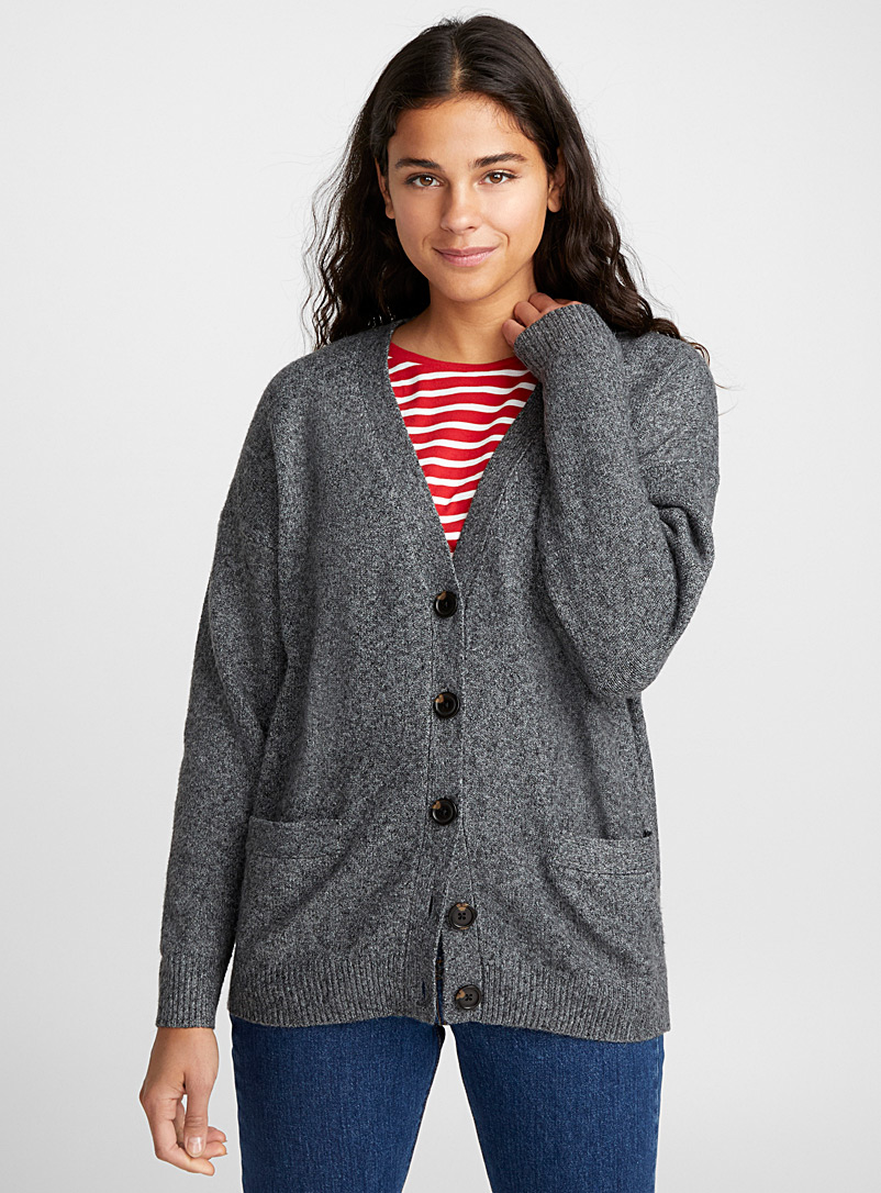 Button-up grandpa cardigan - Cardigans - Charcoal
