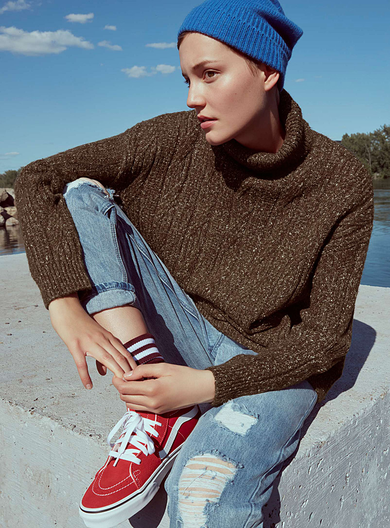 Long cable-knit turtleneck - Tunics - Brown