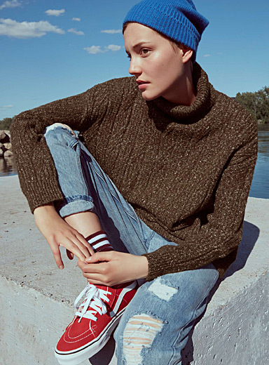 Cable knit turtleneck long sweater