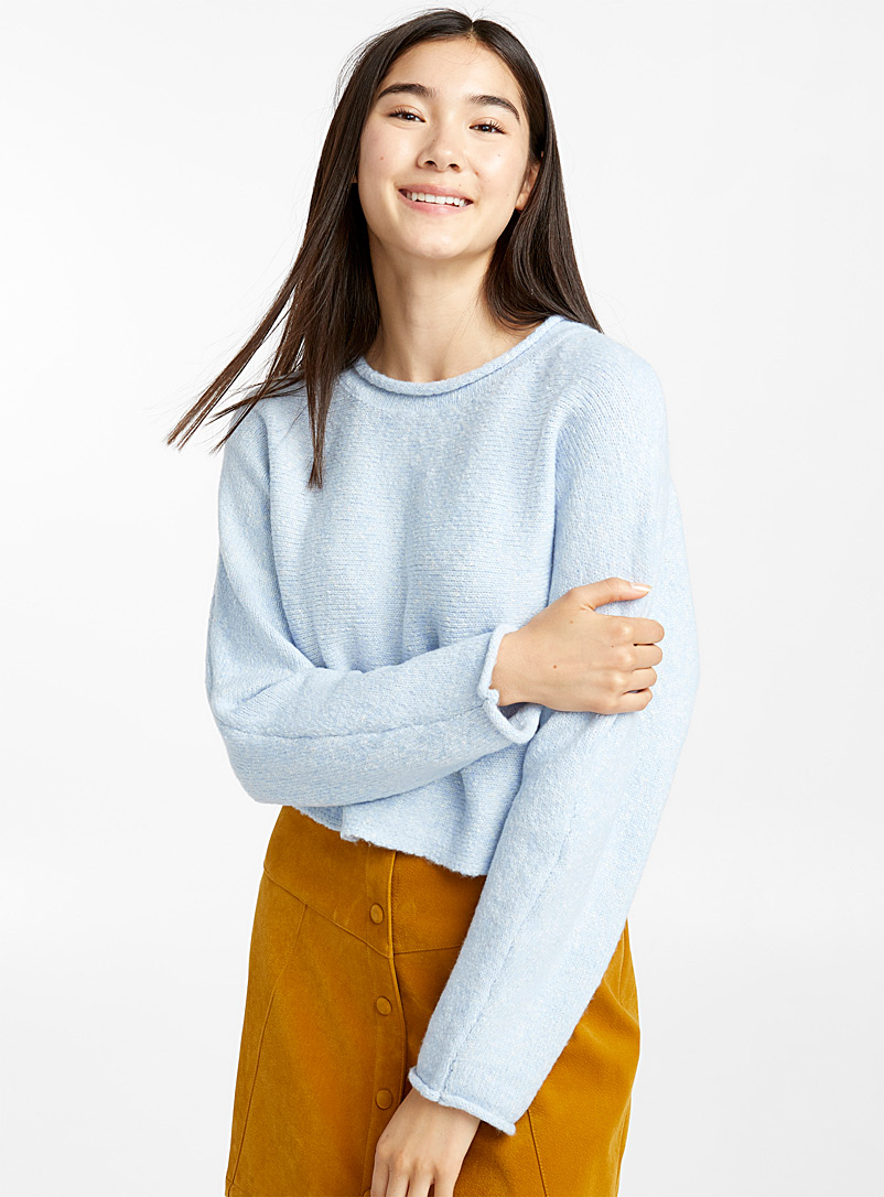 Cropped rolled-neck sweater - Sweaters - Baby Blue