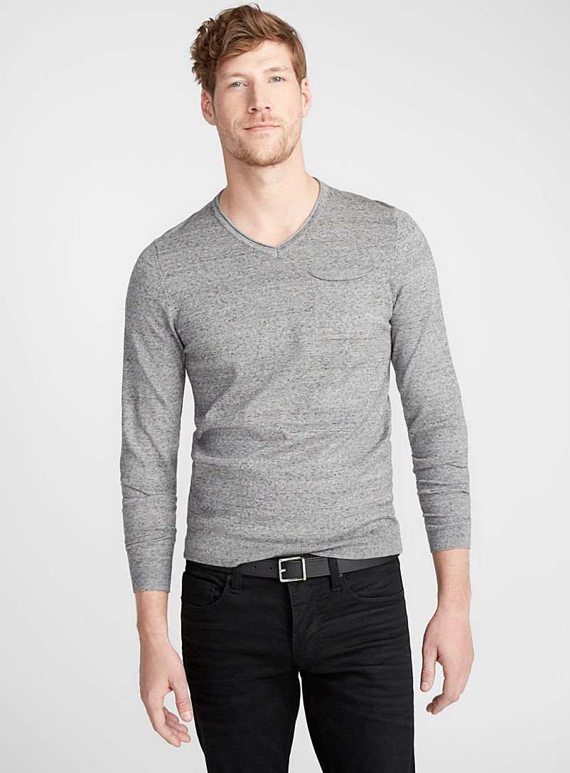 Le 31 Dark Grey Rolled V neck sweater for men