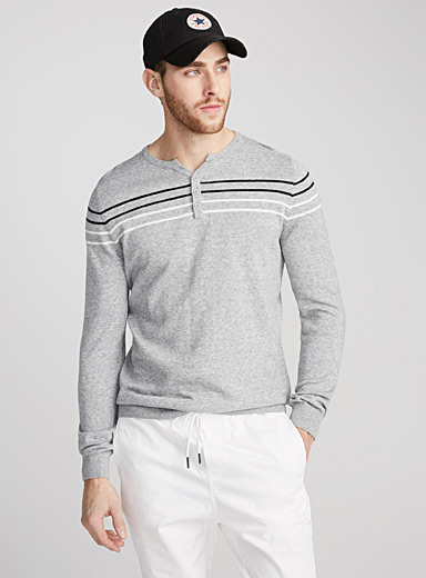 Accent stripe henley sweater