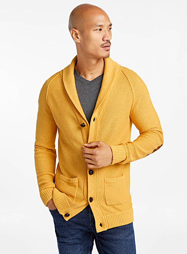 Organic cotton shawl-collar cardigan
