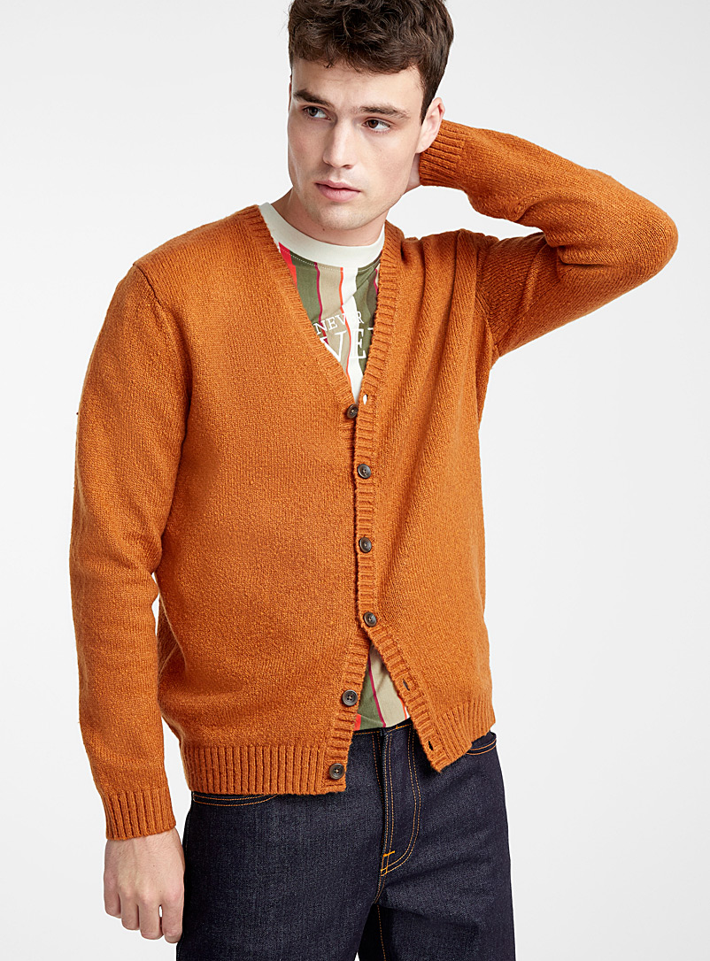 Le 31 Medium Brown Bouclé monochrome cardigan for men