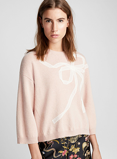 Embroidered-ribbon sweater