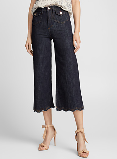 Scalloped-hem jean