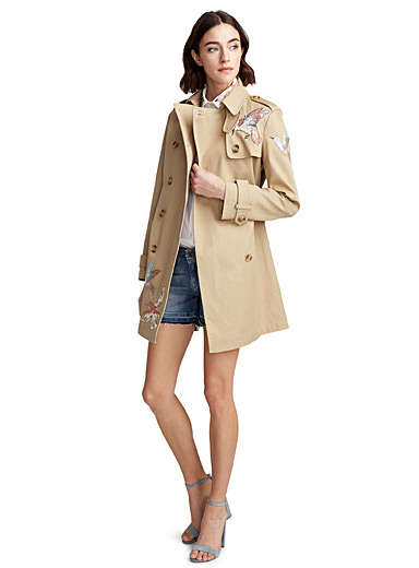 Hummingbird embroidery trench coat