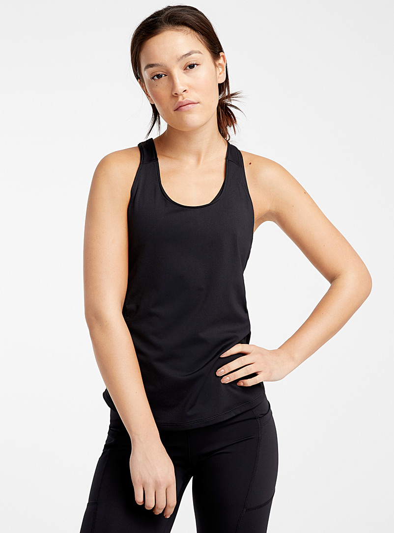 I.FIV5 Black Openwork racerback cami for women