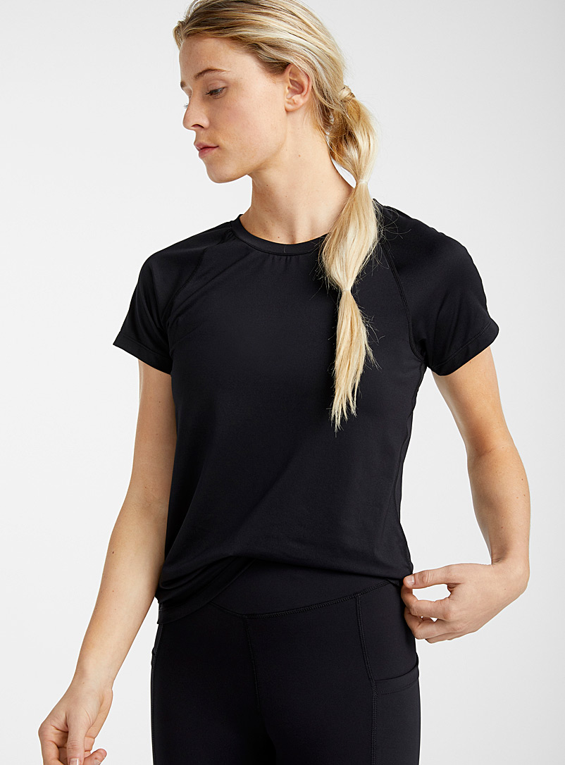 I.FIV5 Black Micro-perforated raglan tee for women