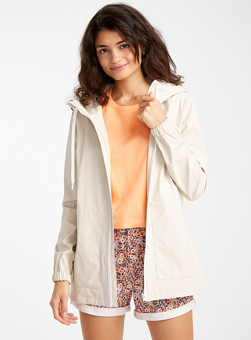 Twik Ivory White Contrast zip raincoat for women