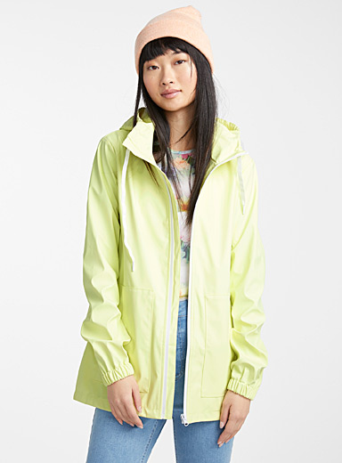 Contrast zip raincoat