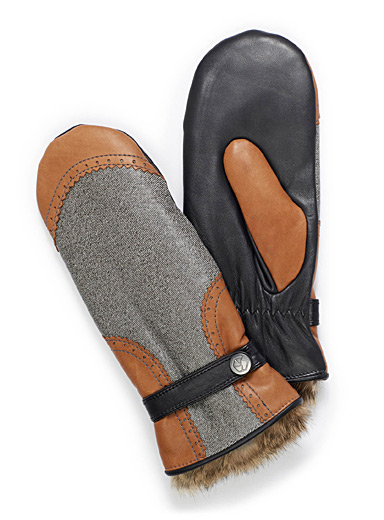Denim-like leather mittens