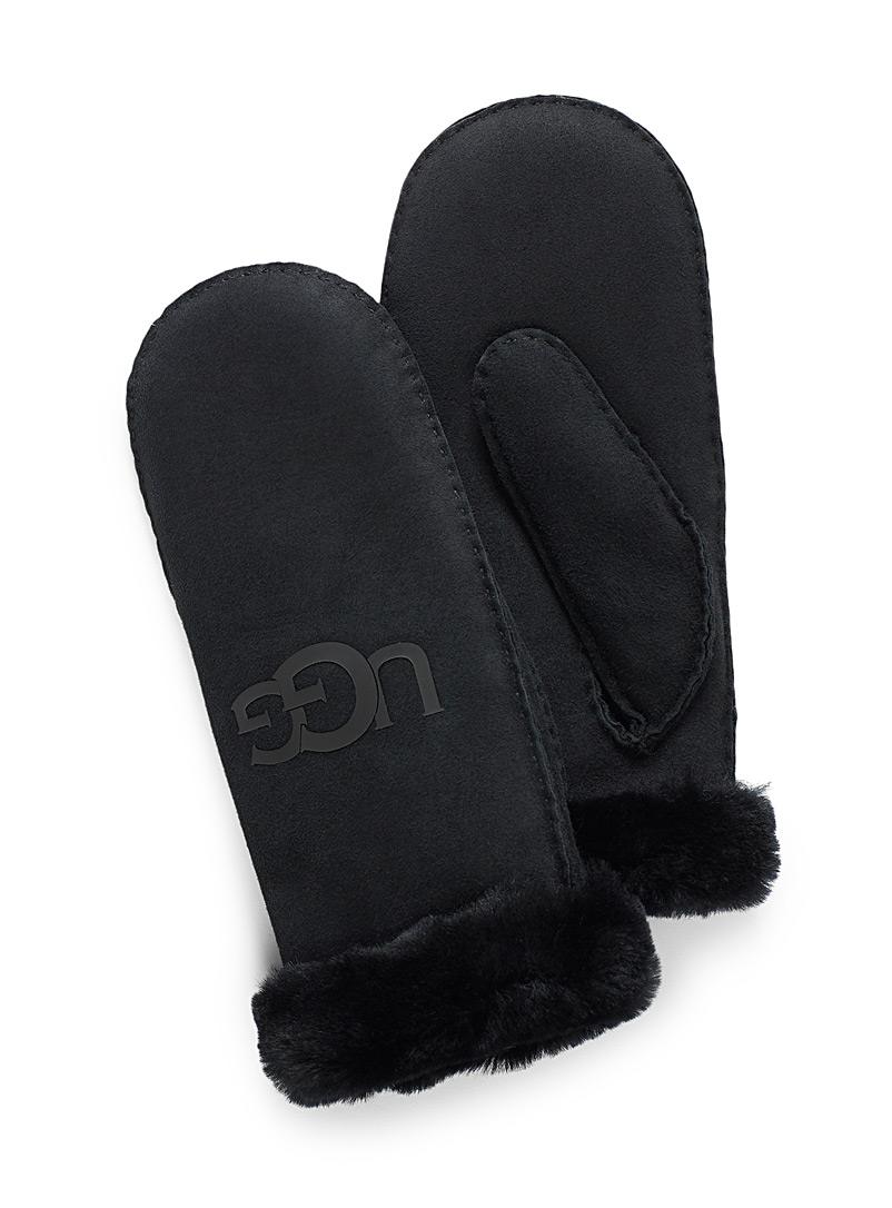 Logo sheepskin mittens - Leather & Suede - Black