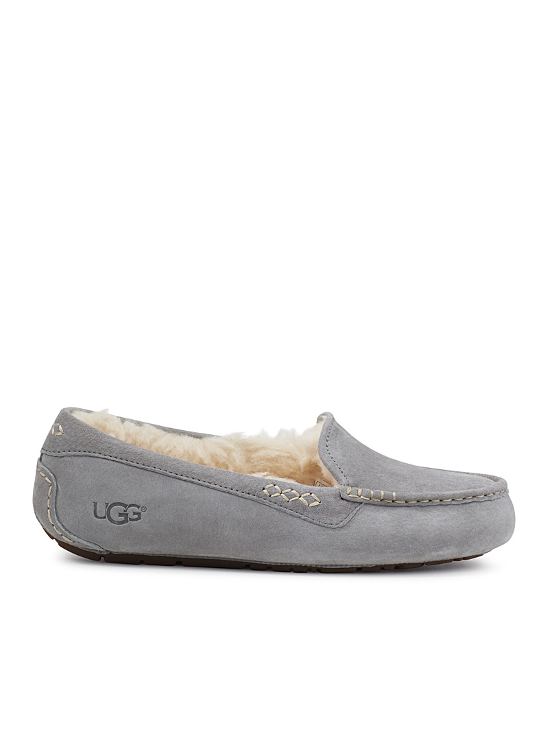 UGG Grey Ansley moccasin slippers for women