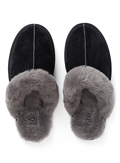 UGG Black Shearling mule slippers for women