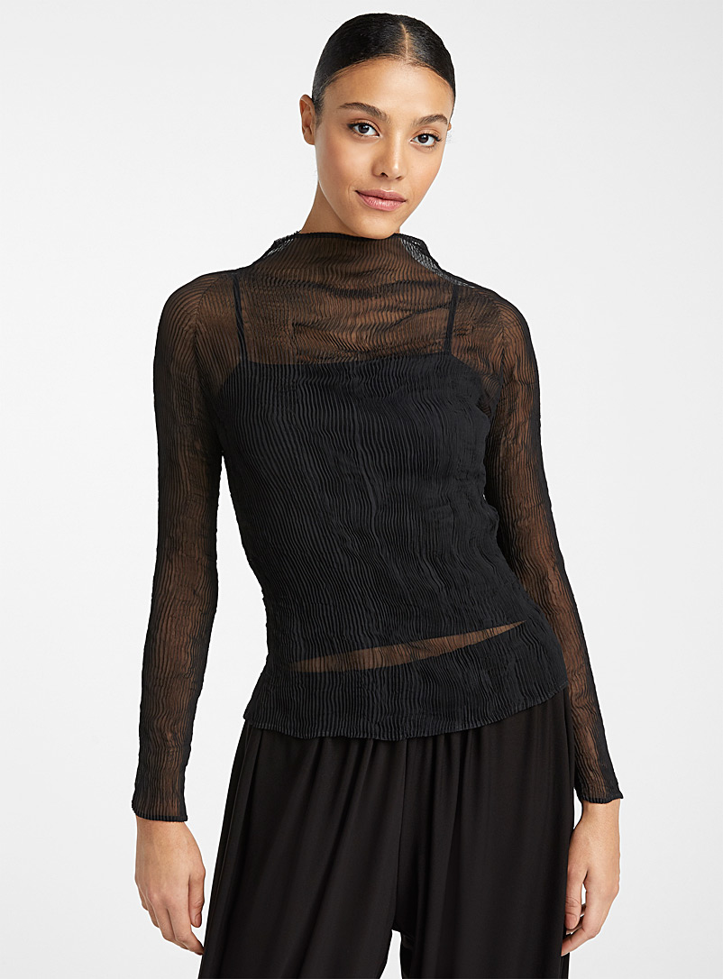 Issey Miyake Black Twist sheer top for women