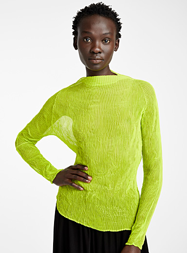 Issey Miyake Medium Yellow Chiffon Twist neon top for women