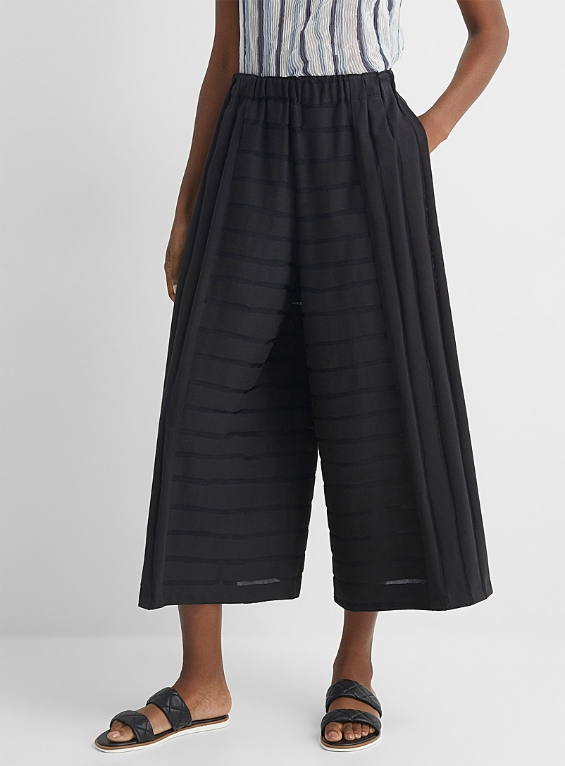 Issey Miyake Black Wide-leg stripe pant for women
