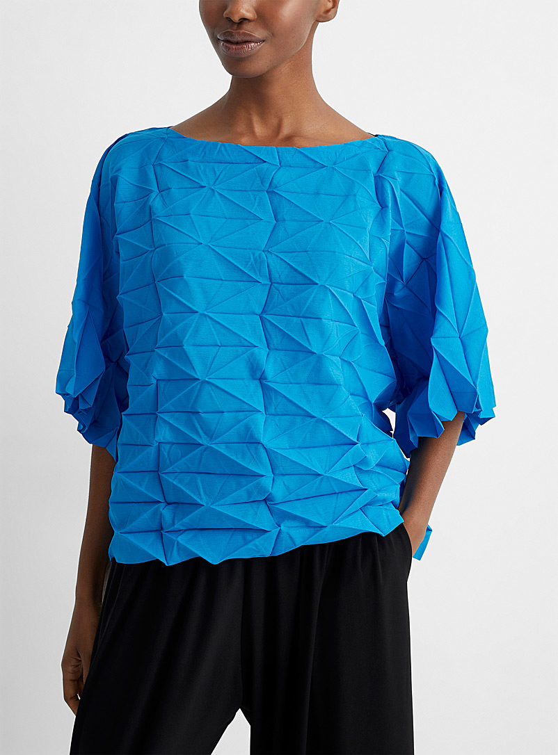 Issey Miyake Sapphire Blue Polygon Pleats blouse for women