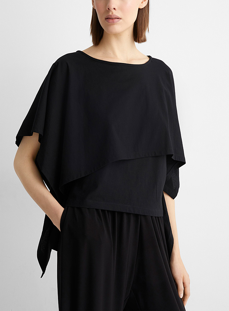 Issey Miyake Black Asymmetric tiered top for women