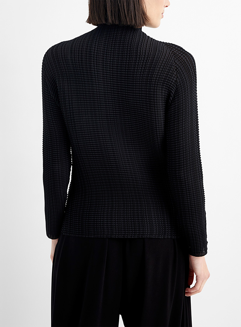 Issey Miyake Black Wooly Pleats mock neck top for women
