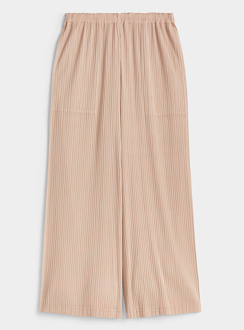 Issey Miyake Cream Beige Accordion-pleat pant for women
