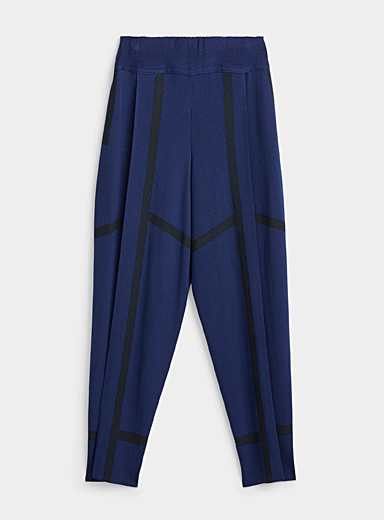 Issey Miyake Marine Blue Accent outline knit pant for women