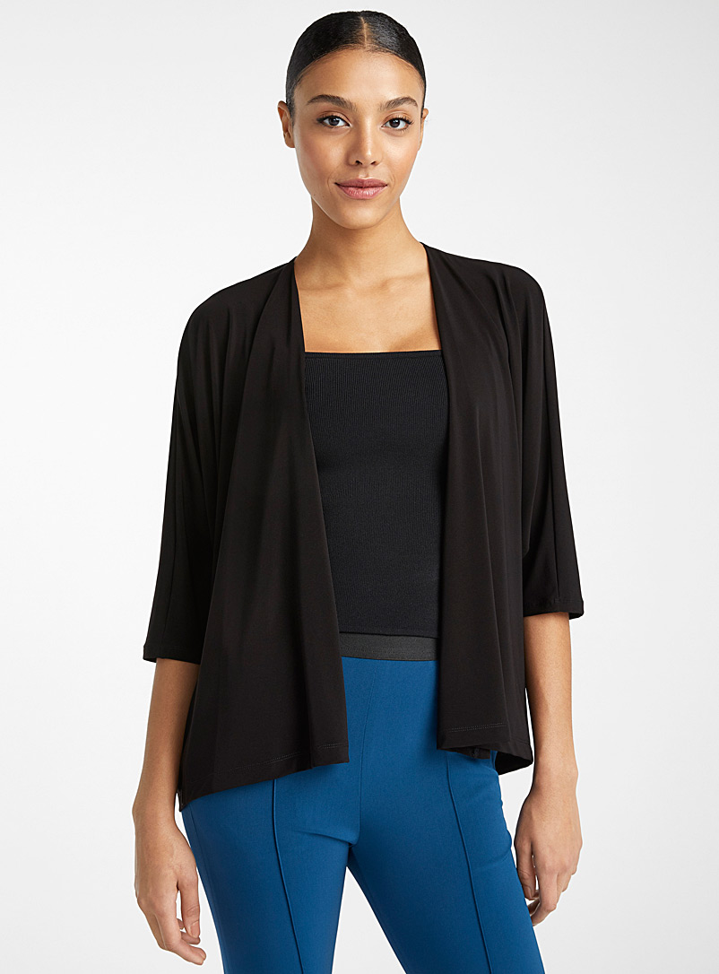 Issey Miyake: Le cardigan Drape Jersey Noir pour femme
