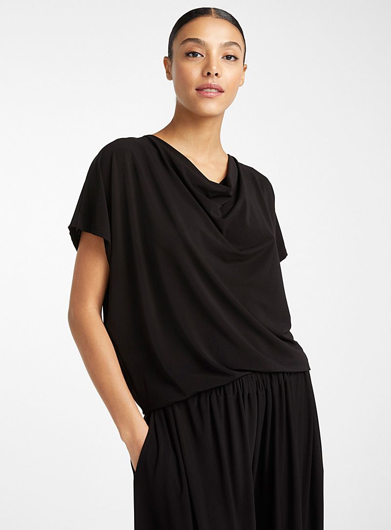 Issey Miyake Black Drape Jersey fluid top for women