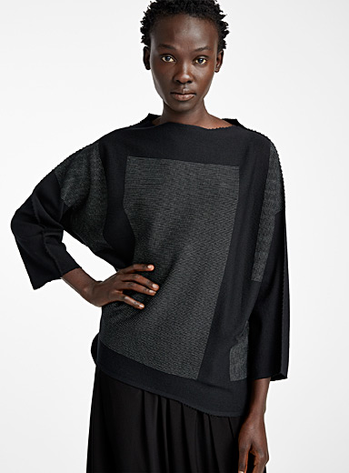 Issey Miyake Black Rusk top for women