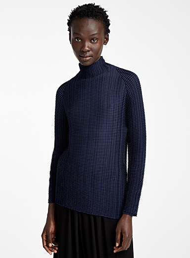 Issey Miyake Marine Blue Wooly Pleats top for women