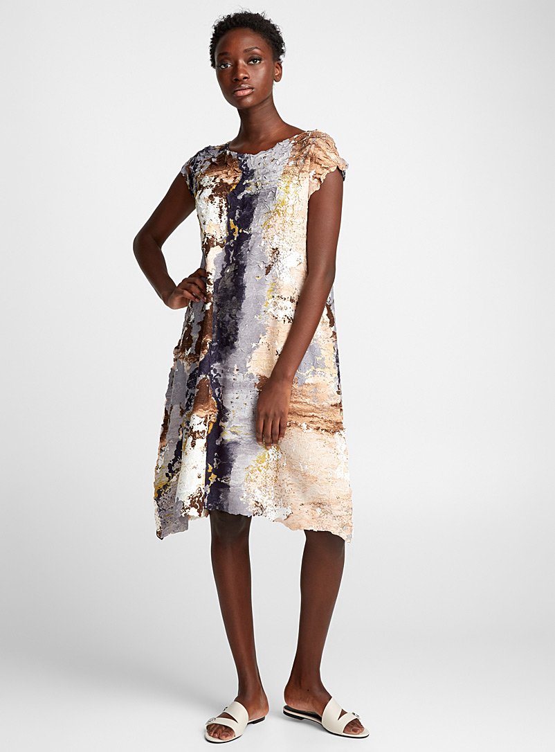 Paint Crush dress - Issey Miyake - Cream Beige
