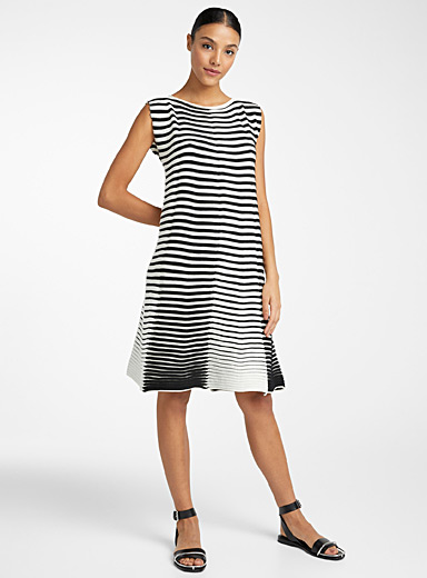 Issey Miyake Black and White 3D stripe knit dress for women