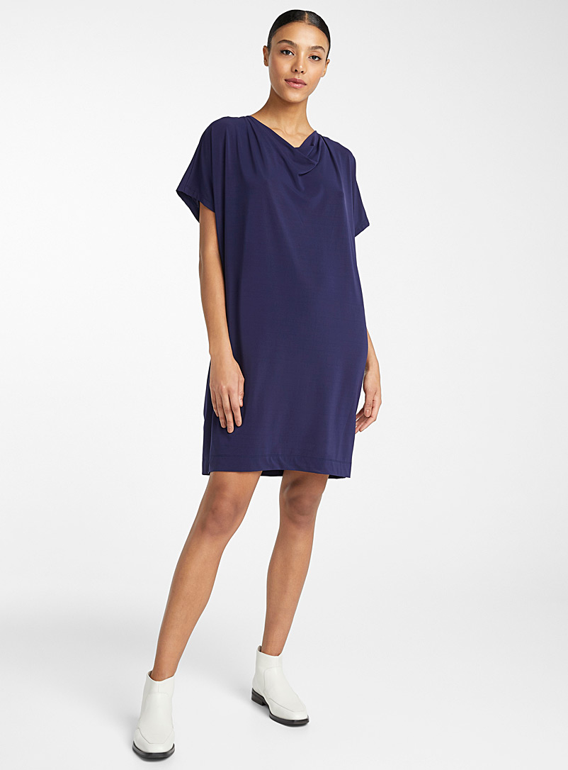 Issey Miyake Marine Blue Drape Jersey fluid dress for women