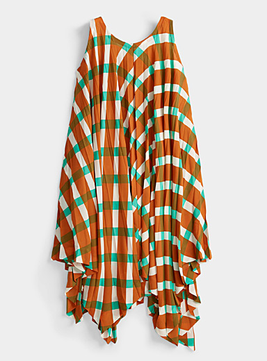 Issey Miyake Brown Asymmetric pleated dress for women