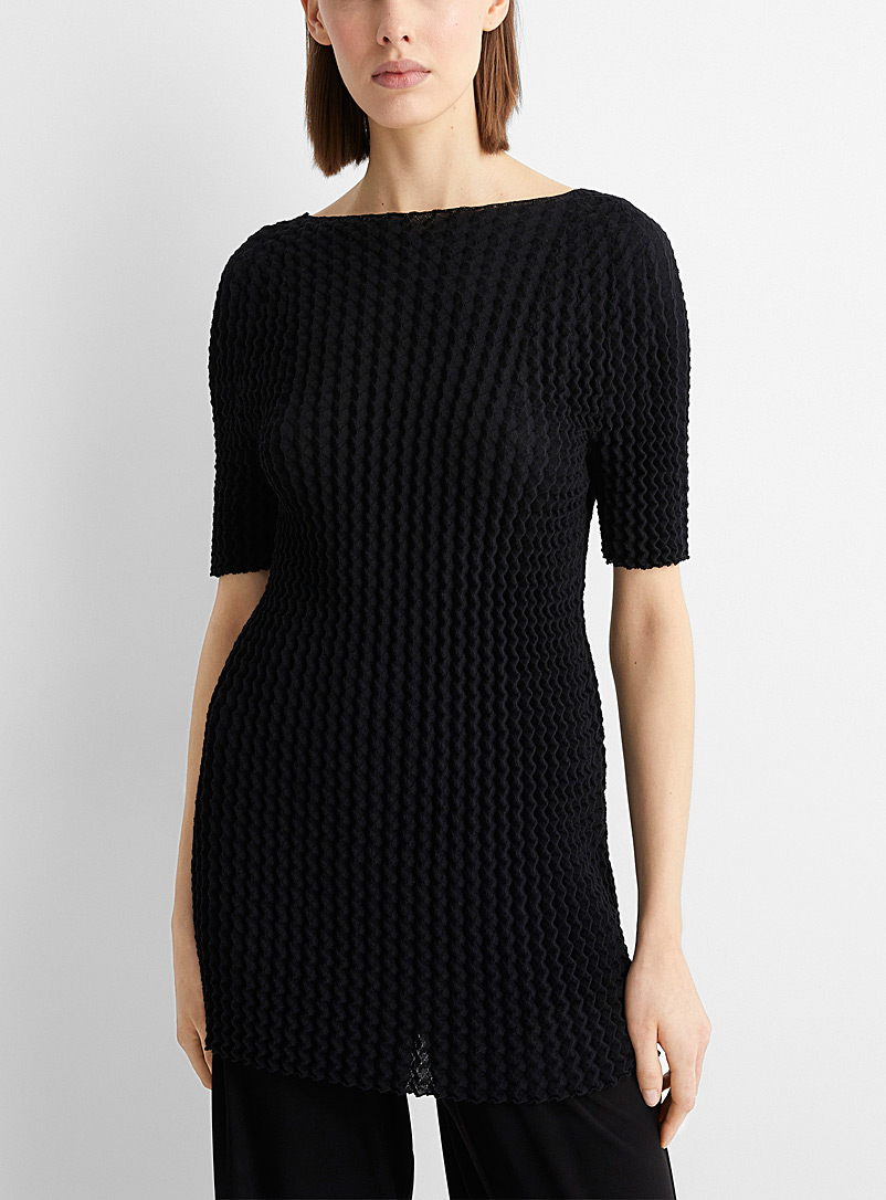 Issey Miyake Black Spongy knit tunic for women