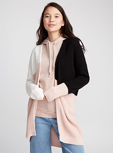Colour block ribbed cardigan