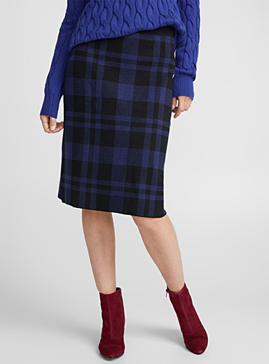 Two-tone check knit skirt