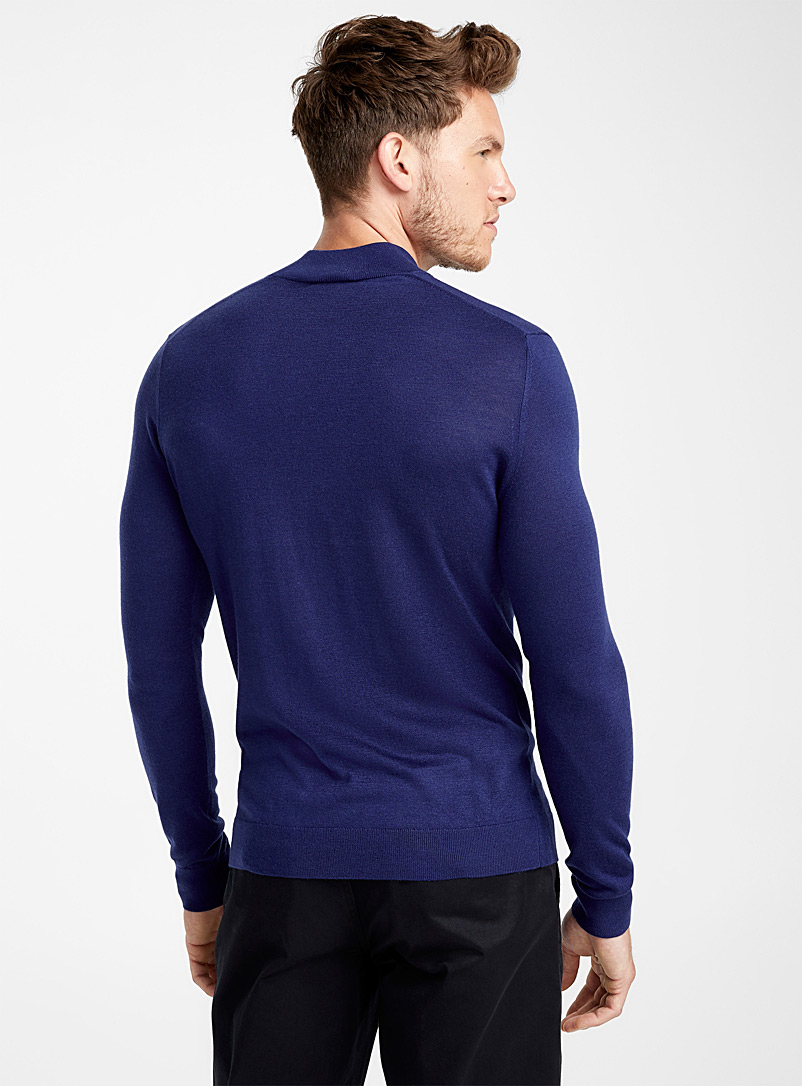 Silky mock-neck sweater - Turtlenecks & Mock necks - Dark Blue