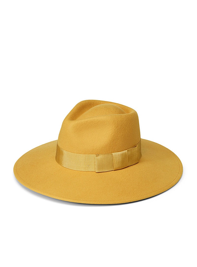 Brixton Golden Yellow Joanna wool fedora for women