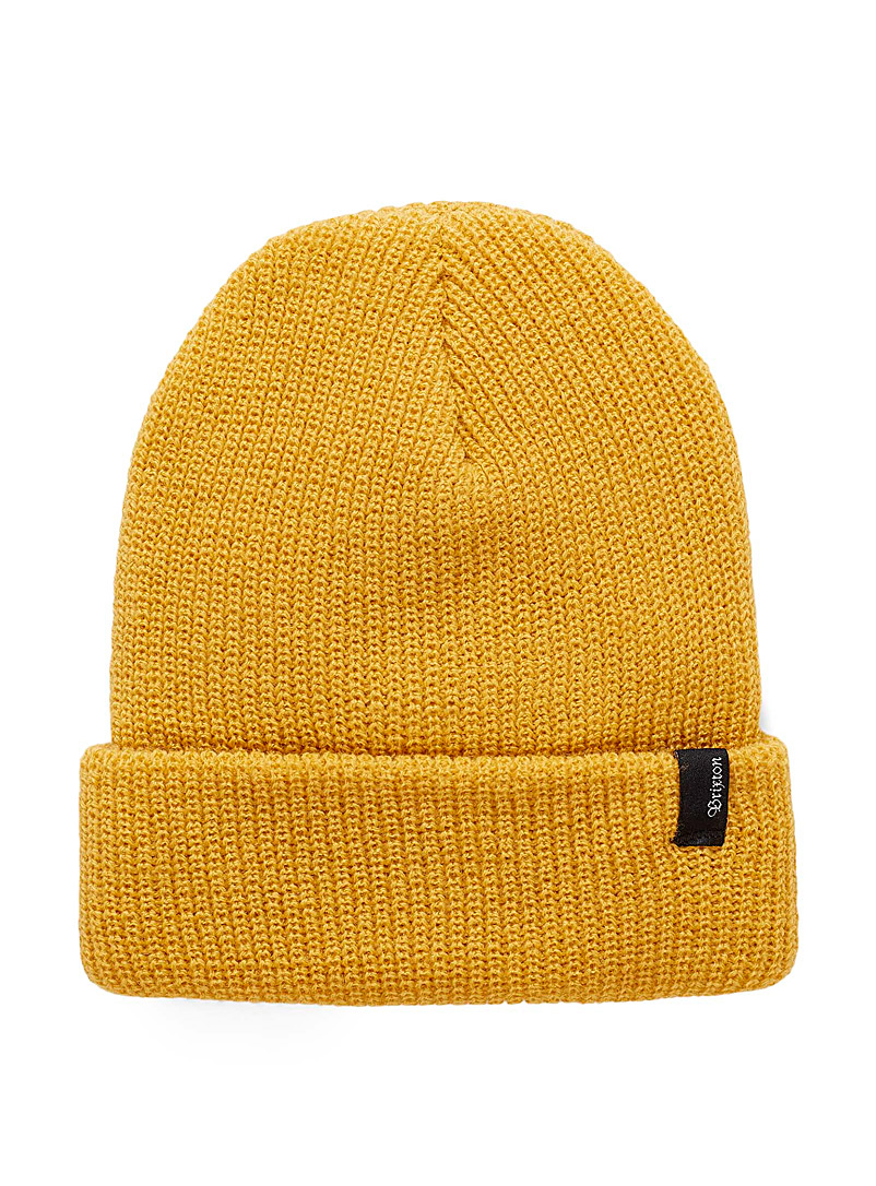 Brixton Dark Yellow Heist ribbed tuque for men