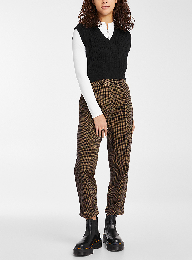 Brixton Patterned Brown Velvety houndstooth pant for women