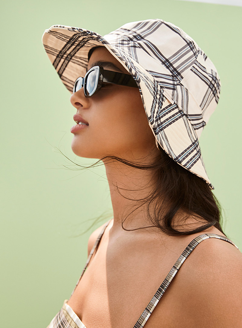 Brixton Patterned Black Petra compact bucket hat for women