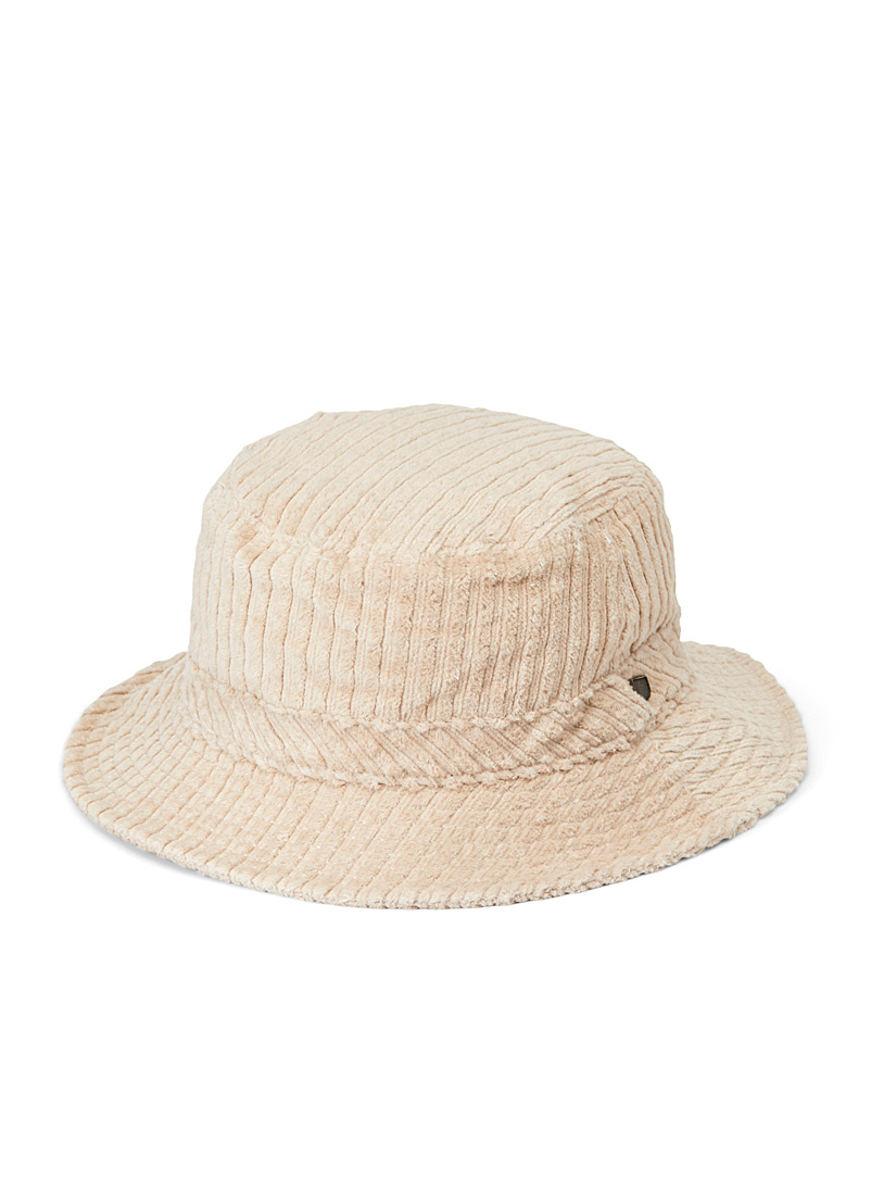 Brixton Cream Beige Felted corduroy bucket hat for women