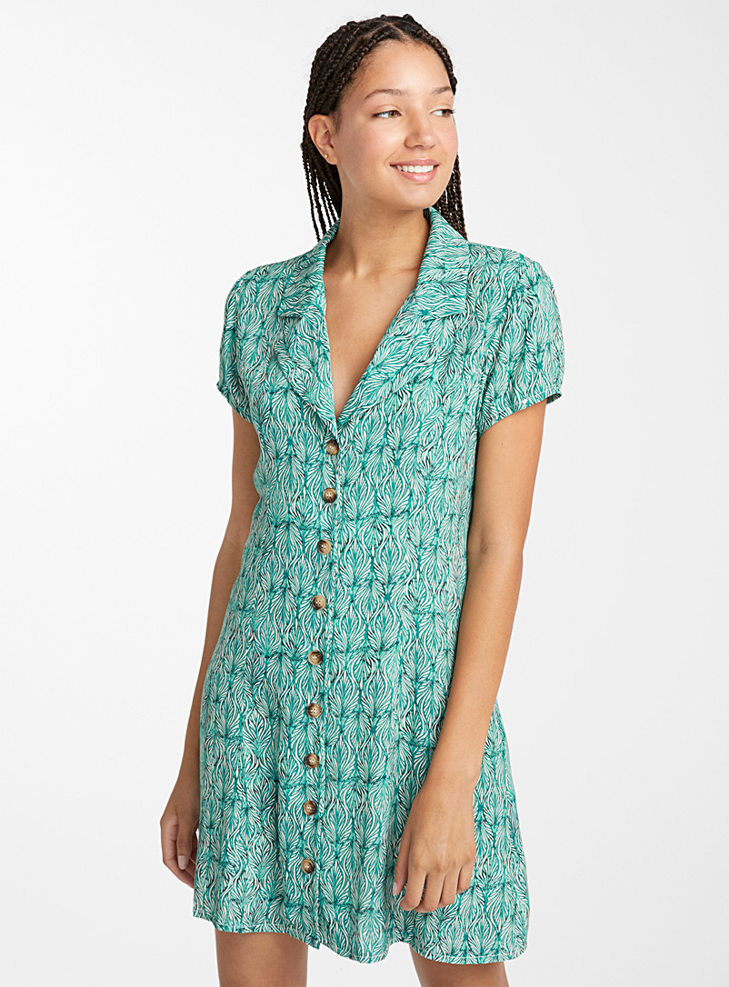 Button bowling dress - Fit & Flare - Patterned Green