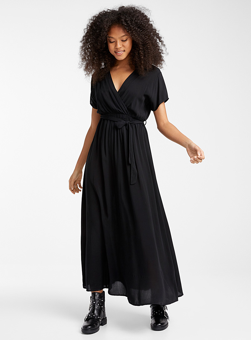 Twik Black Floral belted maxi dress for women
