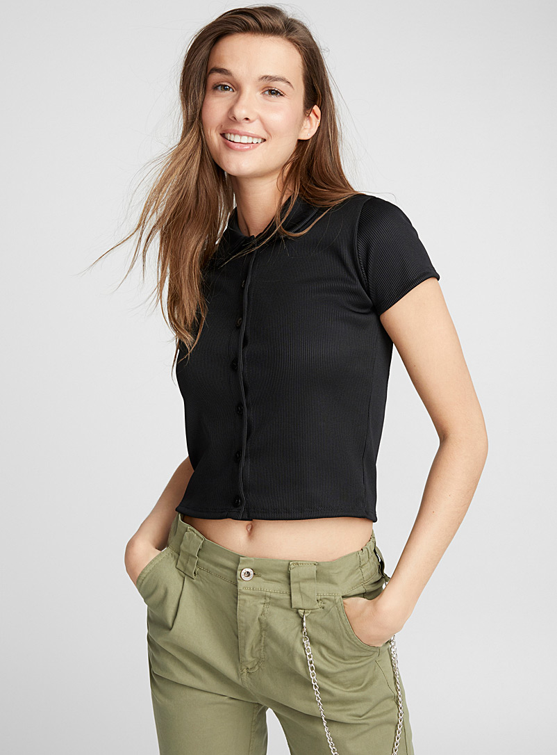 Ribbed polo tee - Short Sleeves & ¾ Sleeves - Black