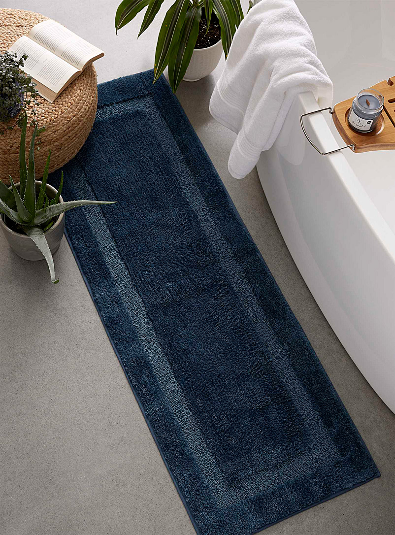 Simons Maison Marine Blue Bordered double-sink mat  50 x 150 cm