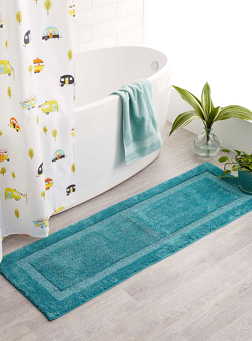 Simons Maison Teal Bordered double-sink mat  50 x 150 cm