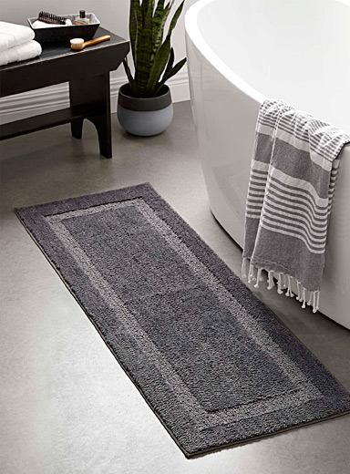 Simons Maison Light Grey Bordered double-sink mat  50 x 150 cm